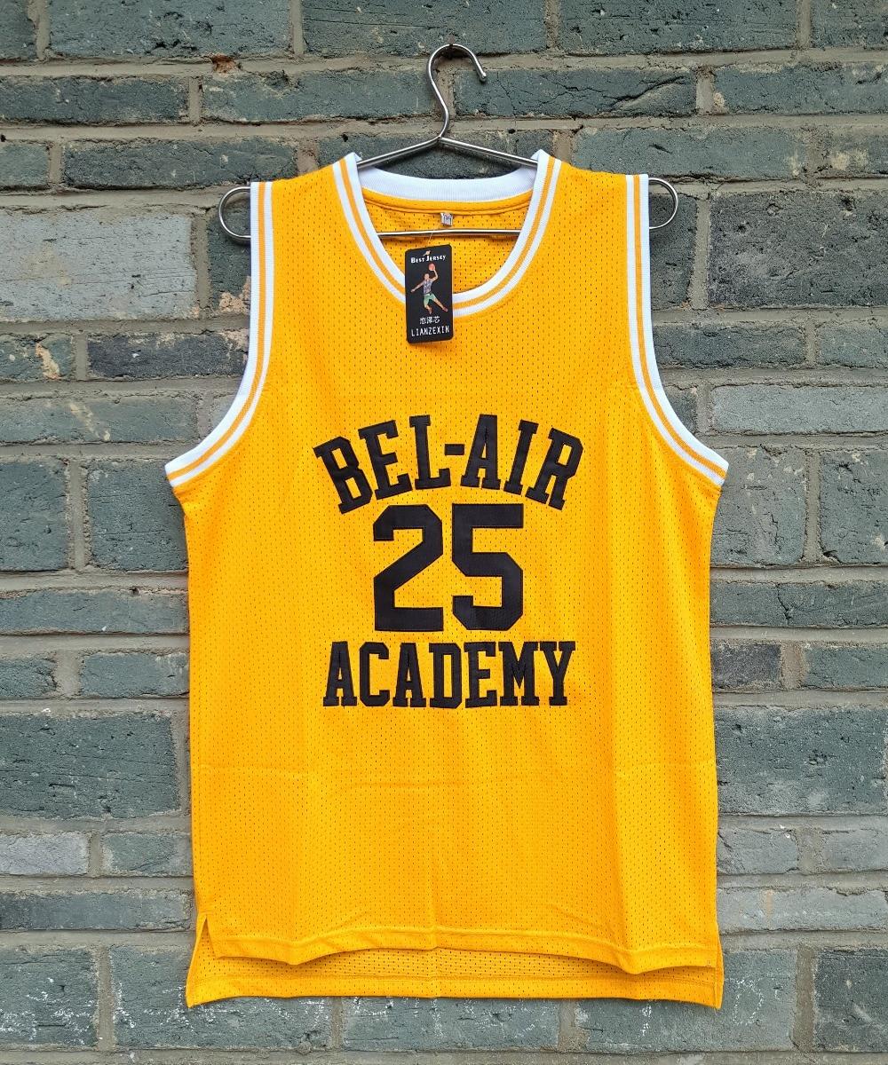 лучшая цена USA LIANZEXIN Carlton Banks 25 Bel Air Academy Gold Basketball Jersey Mens Yellow Sports Jerseys Free Shipping E-Packet