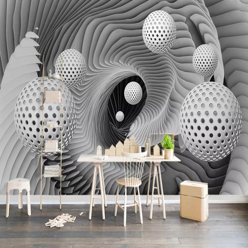 Custom Self-adhesive Wallpaper Waterproof 3D Stereoscopic Space Circle Ball Living Room TV Background Wall Mural Papel De Parede