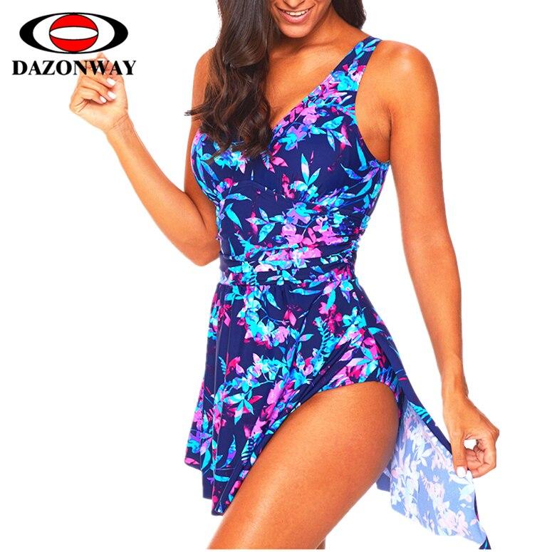 2019 femmes nouveau Sexy imprimer siamois-style robe Style maillot de bain femme Slim grande taille maillots de bain plage vacances jupe noir blanc XXL