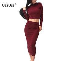UZZDSS Black Grey Khaki 2 Piece Set Sexy Bodycon Party Dresses Velvet Autumn Winter Warm Turtleneck