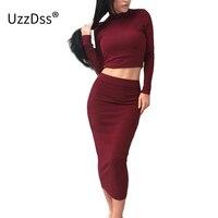 UZZDSS Black Grey Khaki 2 Piece Set Sexy Bodycon Party Dresses Velvet Autumn Winter Warm Turtleneck