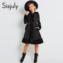 Sisjuly women european coats gothic long sleeve single breasted slim black popular coat new 2017 autumn winter jacket overcoats