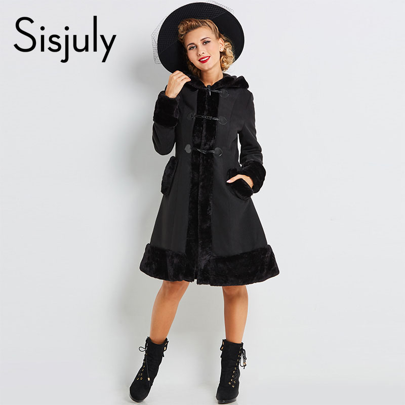 Sisjuly vrouwen europese winterjassen gothic lange mouw single breasted slim zwart hooded coat herfst effen jas overjassen hot