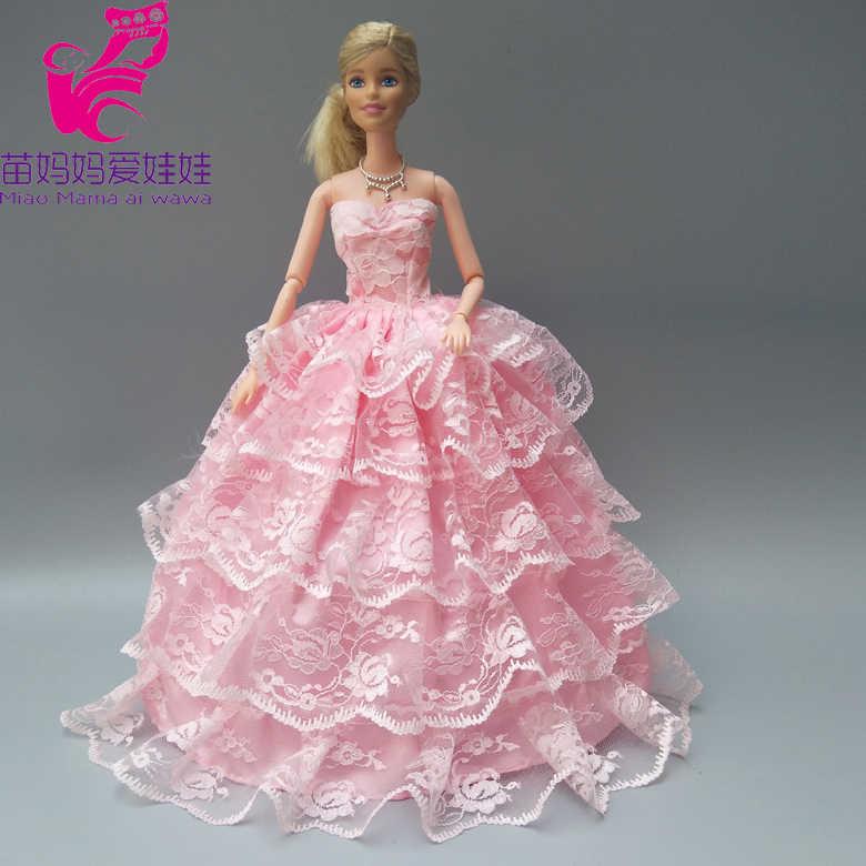 Бесплатная доставка, розовое свадебное платье с вуалью для куклы Барби, платье невесты для маленьких девочек, подарки на Новый год и день рождения