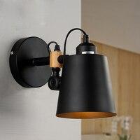 산업 레트로 로프트 블랙 메탈 벽 sconces 빈티지 간단한 복도 발코니 다이닝 룸 침실 침대 옆 독서 벽 램프 w246