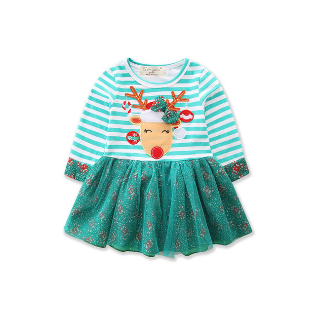 7ad4fac97 Green Christmas Reindeer Dress Long Sleeve Baby Girls embroidery Striped  Princess Dress Kids Girl Party Dresses