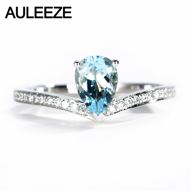 AULEEZE Trendy Crown Design 0.5CT Natural Aquamarine Ring Real Diamond 18K White Gold Office Lady Ring Gemstone Jewelry