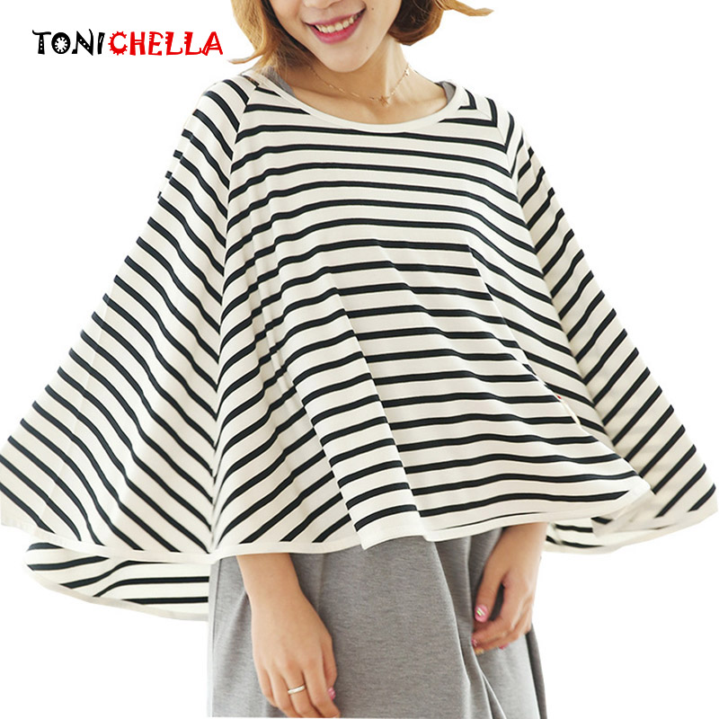 Pregnant Women Outdoors Nursing Covers Breathable Breastfeeding Cotton Feeding Cover Striped Feeding Apron Scarf T0892