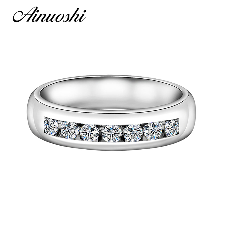 Simple Design Channel Setting Wedding Ring Nscd Row Line Round Cut Engagement Jewelry Women Top Quality Guaranteed In Rings From