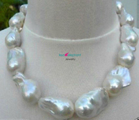 Free shopping! REAL HUGE AAA SOUTH SEA WHITE BAROQUE PEARL NECKLACE 18