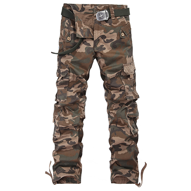 Military Style Camouflage Men cargo Pants New 2017 Full Length militar trousers Color 100% Cotton Spring Autumn Multi-Pockets