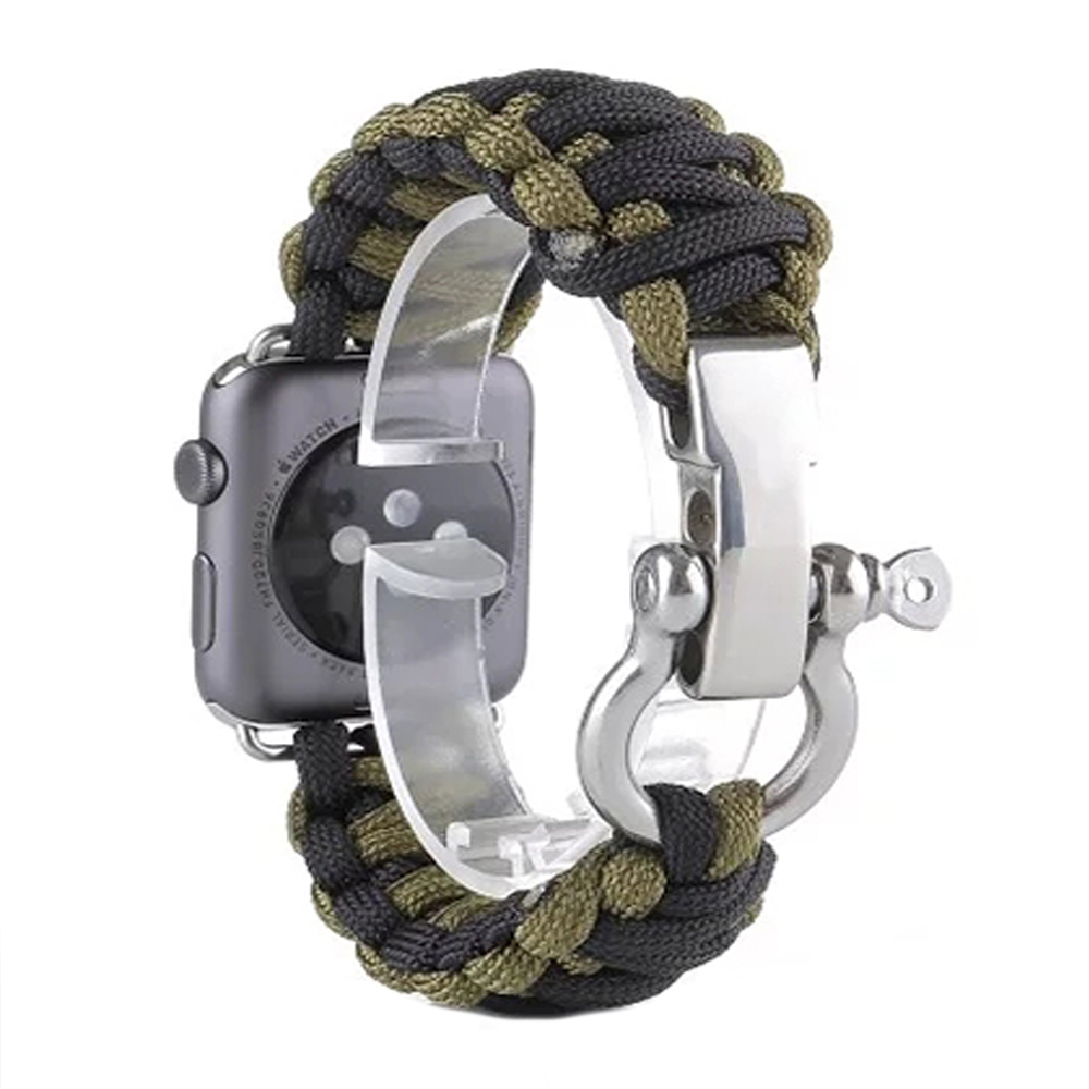 Prix pour Extérieur Sport Hommes de Montre Bracelet Bande pour Apple Montre iwatch 38/42mm Survie Corde Métal Boulon fermoir I71.