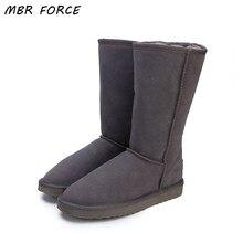 9ee4c2057 MBR FORÇA Austrália Clássicos Sapatos de Senhora de Alta Qualidade À Prova  D' Água Genuína Botas de Neve de Couro De Pele Botas .