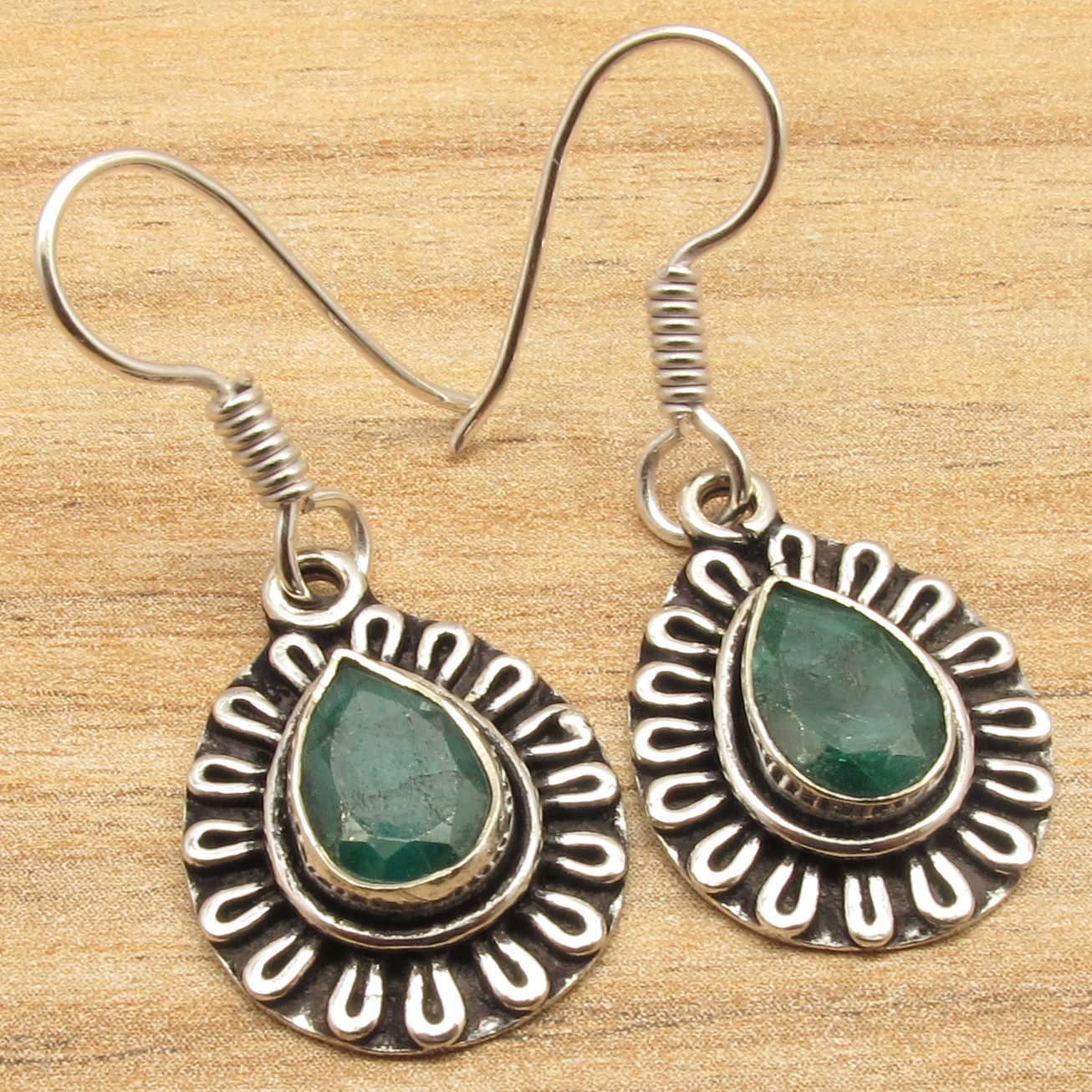 Stud Cut Emeralds Gem ETHNIC ART Earrings Silver Plated Over Solid Copper