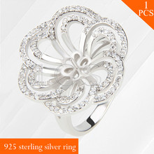 Rounds 925 sterling silver ring mounting nice women jewelry multiple size rings accessories, fit for 9-11mm pearls