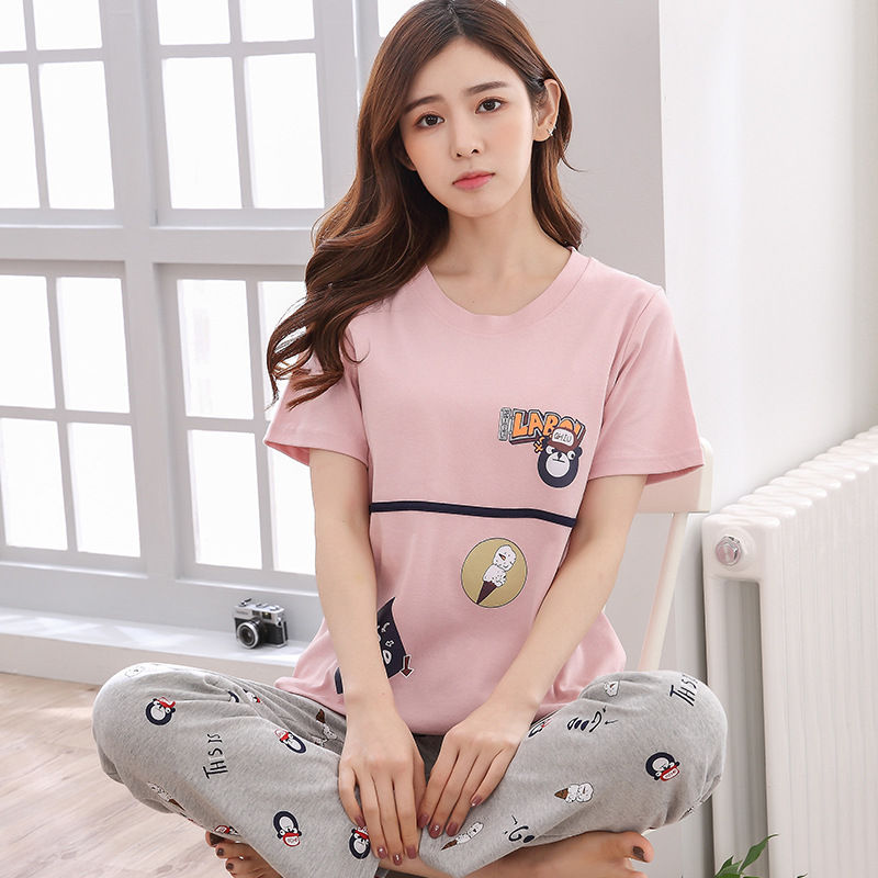 High Quality Women   Pajamas     Set   Large Size Full length O-Neck Sleep wear Ladies Winter Fashion floral M-XXL Breathable Pyjamas