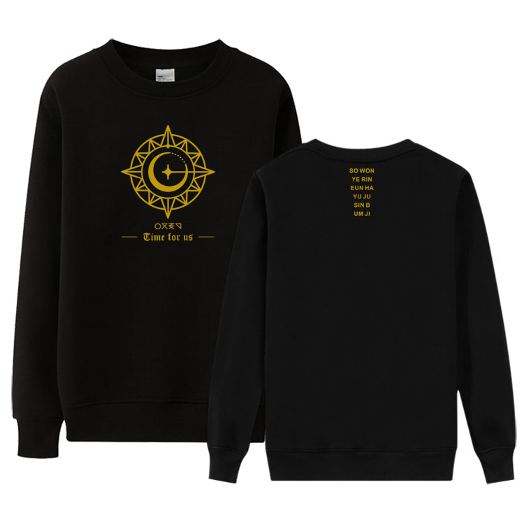Gfriend new album time for us all member name printing o neck thin sweatshirt kpop spring autumn unisex loose pullover hoodies image