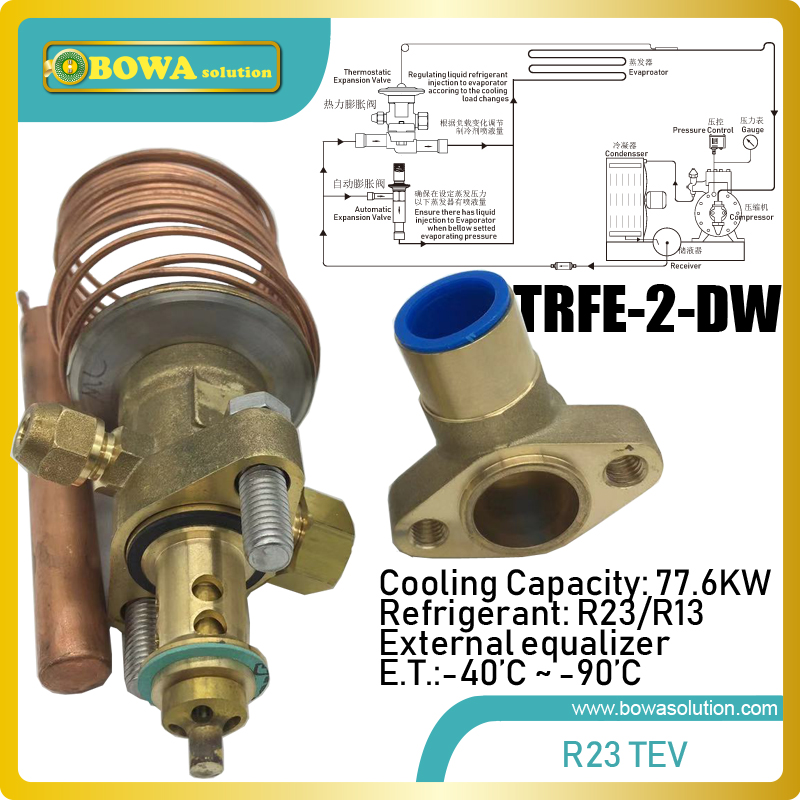 78KW take apart R23 thermal expansion valve matches 74m3 h displacement refrigerant compressor such as GEA