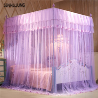 Princess mosquito nets three open doors landing square palace top mosquito nets, stainless steel bracket Curtain Bed Canopy Net
