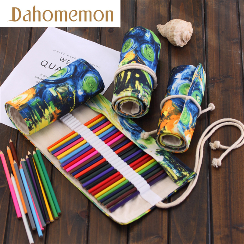 36/48/72 Hole Van Gogh abstract ink painting Pencil Case Starry sky Stationery Canvas Pen Roll Up Bag Art Curtain Pencil Storage ink painting dotted waterproof shower curtain