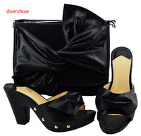 doershow Shoes and Bag High Quality Matching Italian Shoes and Bag Set Italy Wedding Shoes and Bag Set Decorated black !Sbf1 45