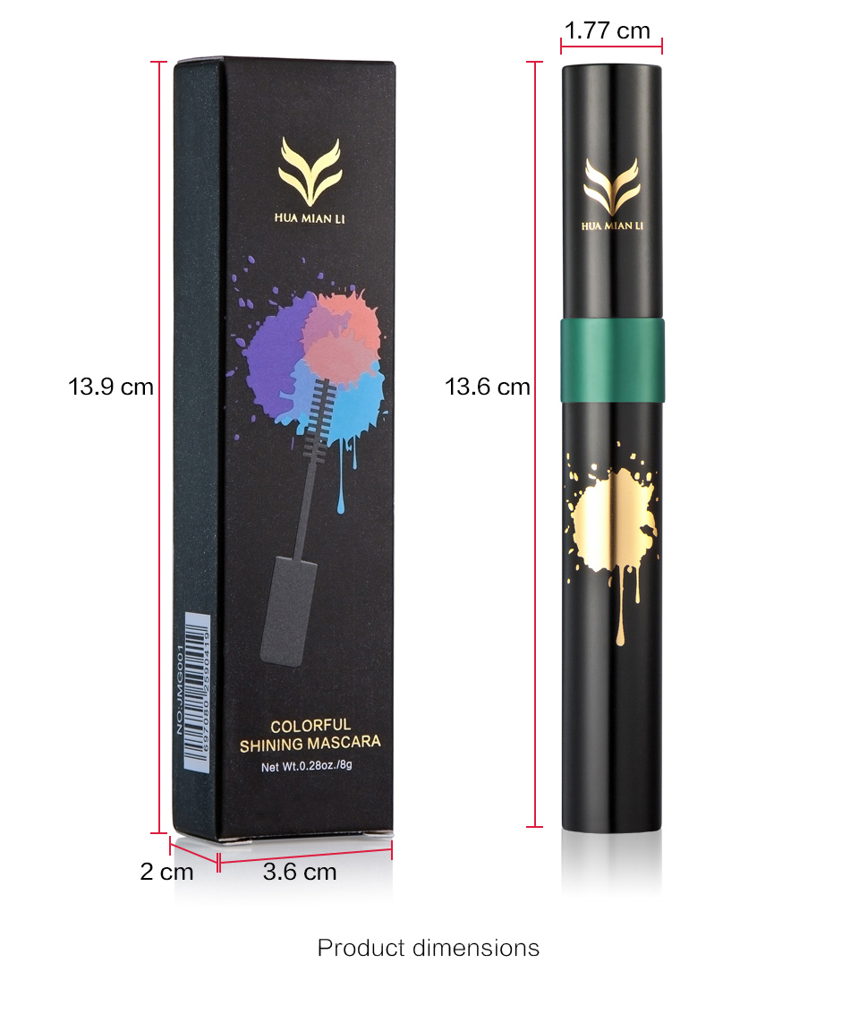 HUAMIANLI Colorful Green Blue Mascara Waterproof Lengthening Curling Eye Lashes Silicone Women Professional Makeup 3D Mascara 6