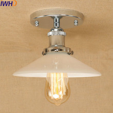 Loft Vintage Industrial LED Ceiling Lights Retro Ceiling Lamp Antique Round Lampshade Fixtures Home Lighting Ambilight Lighting
