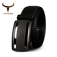 COWATHER Cow Genuine Leather Belts For Men High Quality Cowhide Leather Automatic Male Belt Vintage Metal