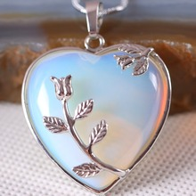 Free Shipping Fashion Jewelry 33X33X9MM Natural Stone Bead Heart Light Blue Opal Pendant 1Pcs With Chain 18inches K303