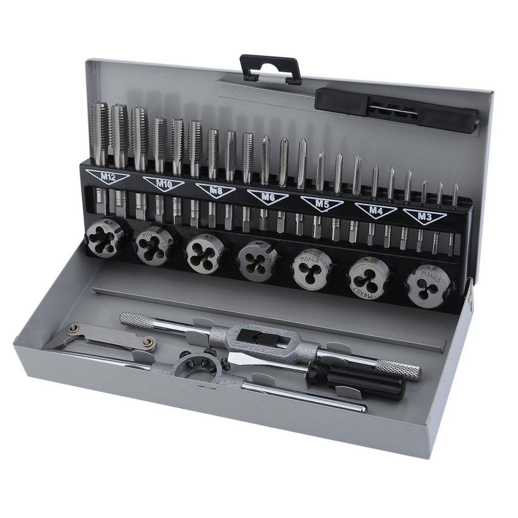 2018 32Pcs/set Carbon Steel Screw Thread Metric Tap &Die M3-M12 Thread Milling Machine Taps Cutters Screwdriver Kit цены