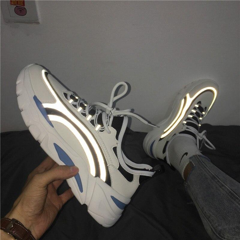 Ins hommes papa baskets Kanye réfléchissant ouest Hip Hop danse lumière respirant épais bas chaussures hommes Tenis Masculino Adulto
