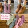 Otoño e invierno calcetines gruesos femeninos calcetines hasta la rodilla calcetines de lana térmica engrosamiento de la vendimia floja de maternidad calcetines boca