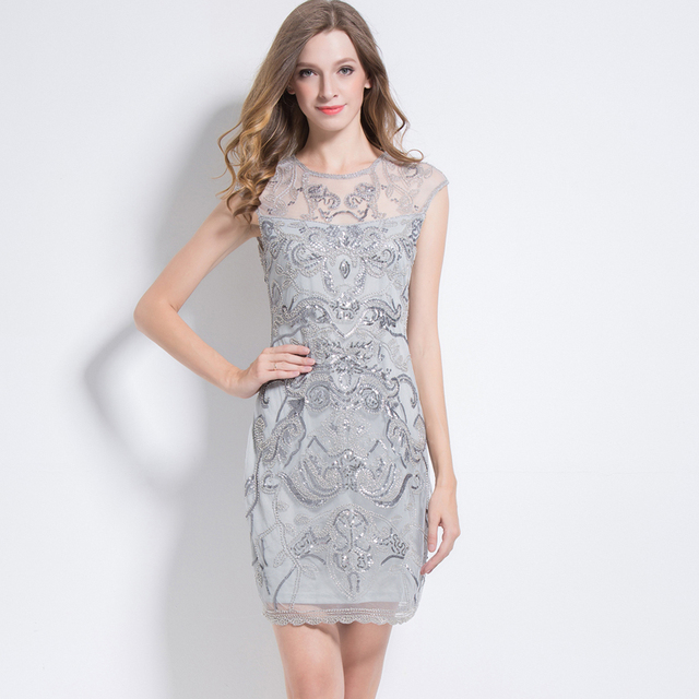 Silver flapper dress for women