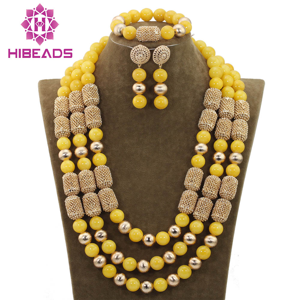 Romantic African Jewelry Sets Big Jewelry Set for Wedding 14MM Yellow Beaded for Women Christmas Gift Free ShippingABH162