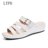 LYPO 2018 Summer New Wear Cool Slipper Women Outdoor Fashion Korean Leather Flat With Women S