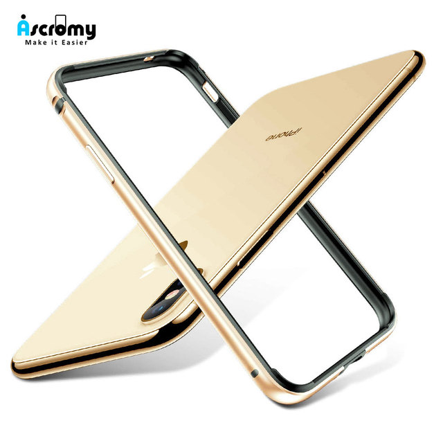 more photos ad09c 3ba19 US $4.96 29% OFF|Ascromy For iPhone XS Max Bumper Case Luxury Aluminum  Metal Silicone Frame Phone Case For iPhone X S R XR XSMax Gold  Accessories-in ...