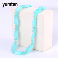 Yumten Aquamarine Power Necklace Square Natural Stone Crystal Women Jewelry Men Gem Pearl Ouro Musica Kolye