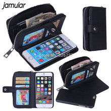 JAMULAR Lady PU Leather Zipper Handbag Wallet Purse Phone Case for iPhone X 8 7 Plus Phone Bags Cover For iPhone 6 6S Plus 5S SE(China)