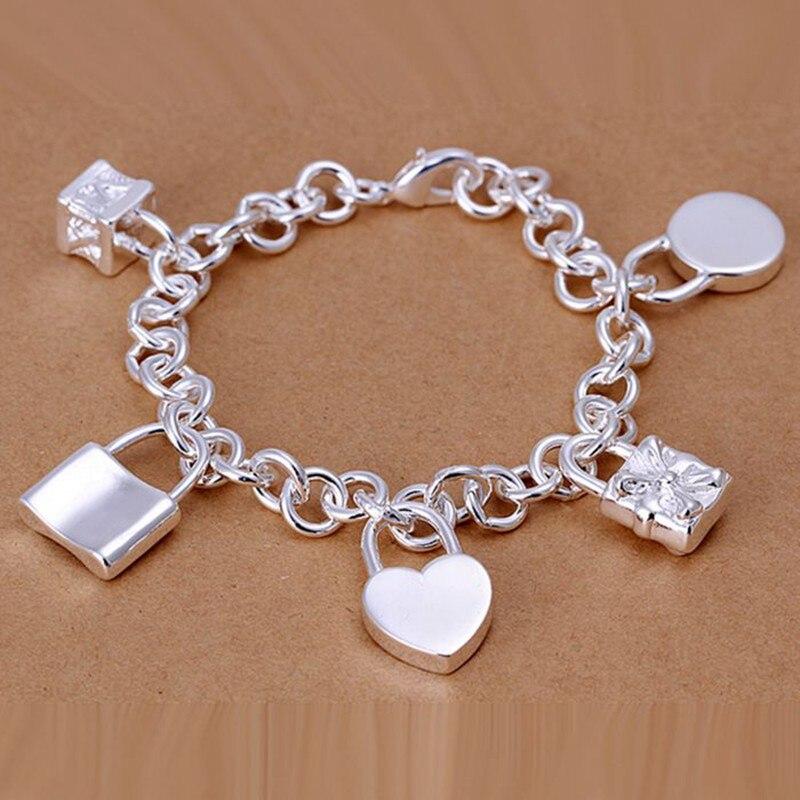 2016 Hot Silver Color Jewelry bracelet silver plated wristlet vintage accessories Five Lock Bracelet NPNMBWLV MOEJXHYRI
