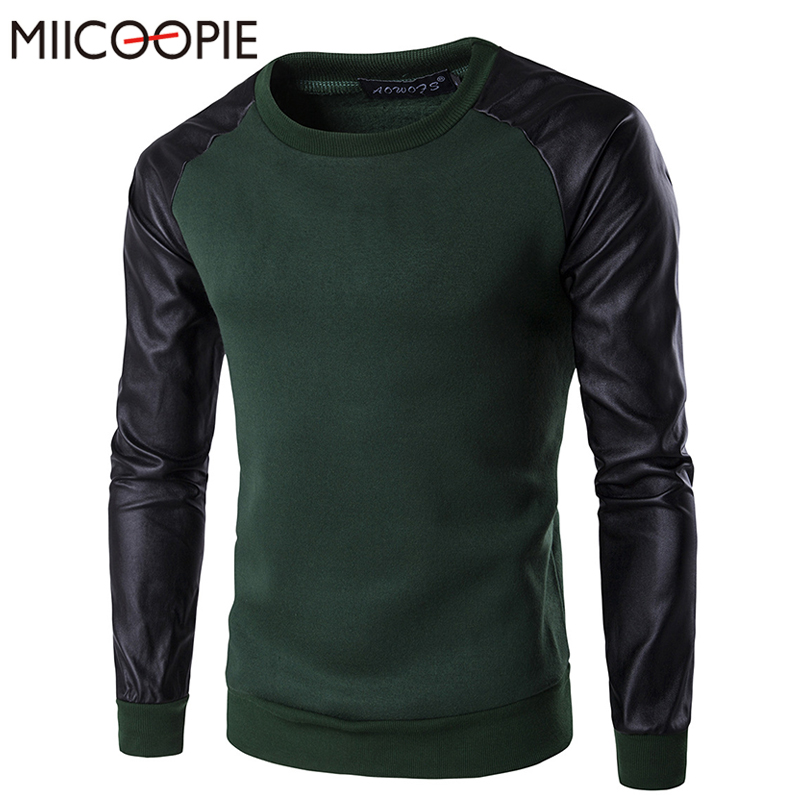 Hoodies Men New Fashion Lether Patchwork Mens Pullover Slim Hedging Hoodie Sweatshirts O ...