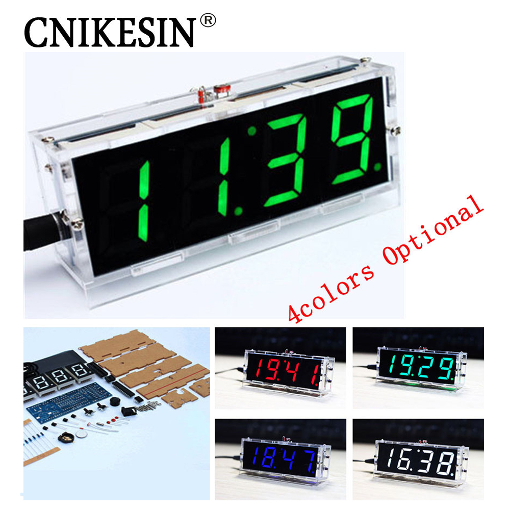 CNIKESIN 2PCS DIY clock Digital clock production suite voice timekeeping DIY SCM training electronic watch 4colors