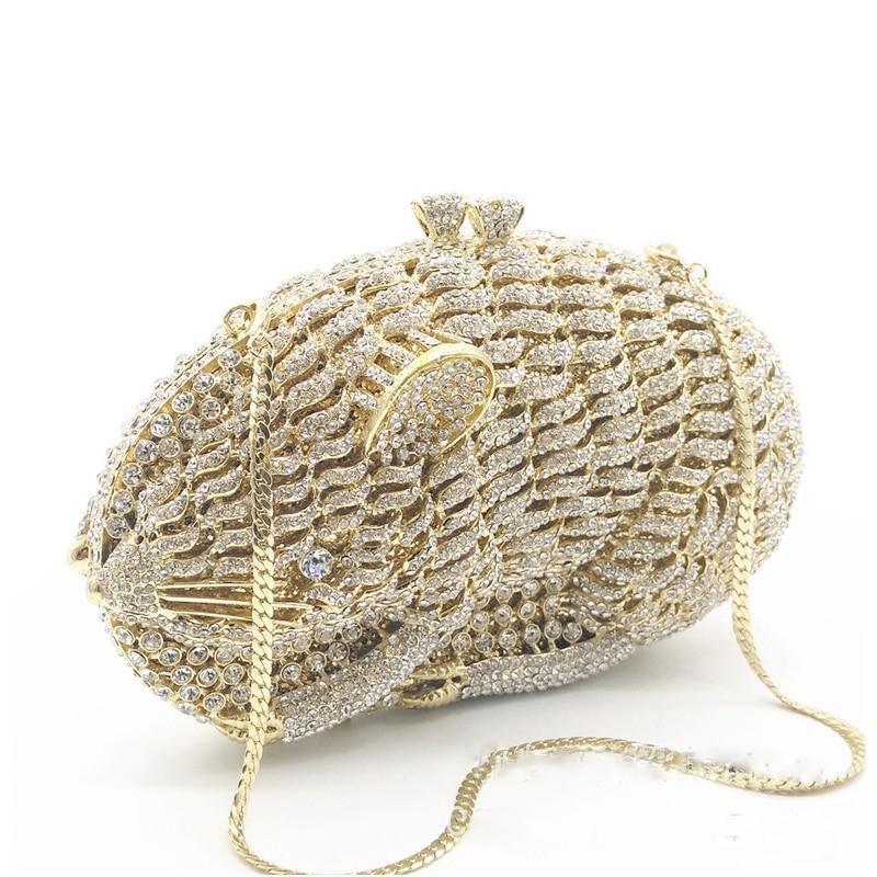Femmes Or Hamster white 2 De Luxe Diamant Soirée Main Embrayage 100 Dame Gold Forme Clutchparty Sacs Évider Xiyuan Gold Couleurs SFRw5XUqnU