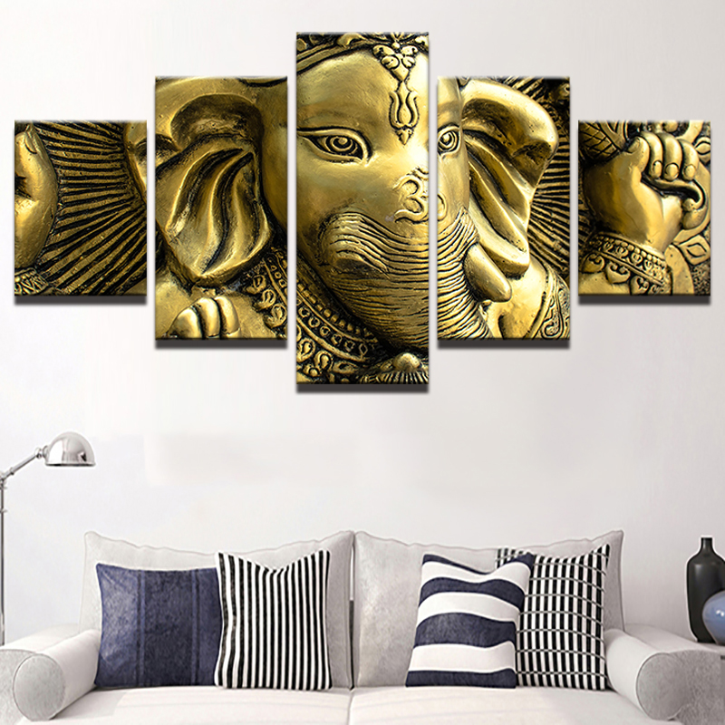 Us 8 45 Off Jie Do Art Home Decor Canvas Hd 5 Pieces Paintings India Head Print Pictures In Painting Calligraphy From