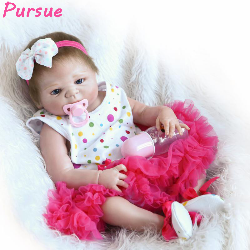 Pursue 22/57cm Full Body Silicone Reborn Babies Girl Bathing With Child Realistic Weighted Baby Girl with Hair Gifts For Child pursue 22 57 cm reborn babies silicone