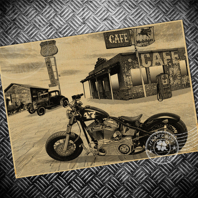Vintage poster retro old route 66 motorcycle painting ...