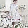 White Ivory 2016 Vestidos De Novia Long Sleeves Lace Wedding Dresses Ball Gown Tea Length Vintage Bridal Gown FY371