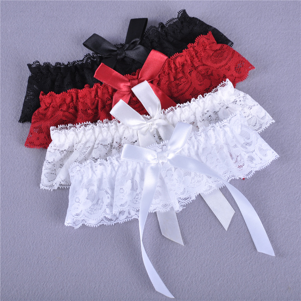 1PCS Women Girl Sexy Lace Floral Bowknot Wedding Party Bridal Lingerie Cos Leg Garter Belt Suspender 4 Colors