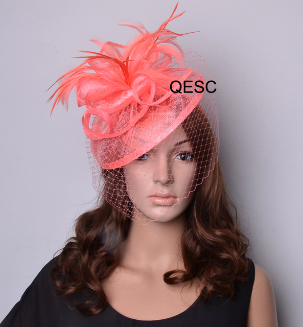 78e7b023ad070 New arrival coral sinamay hat fascinator with veiling and feathers for Wedding  Kentucky derby Races church party