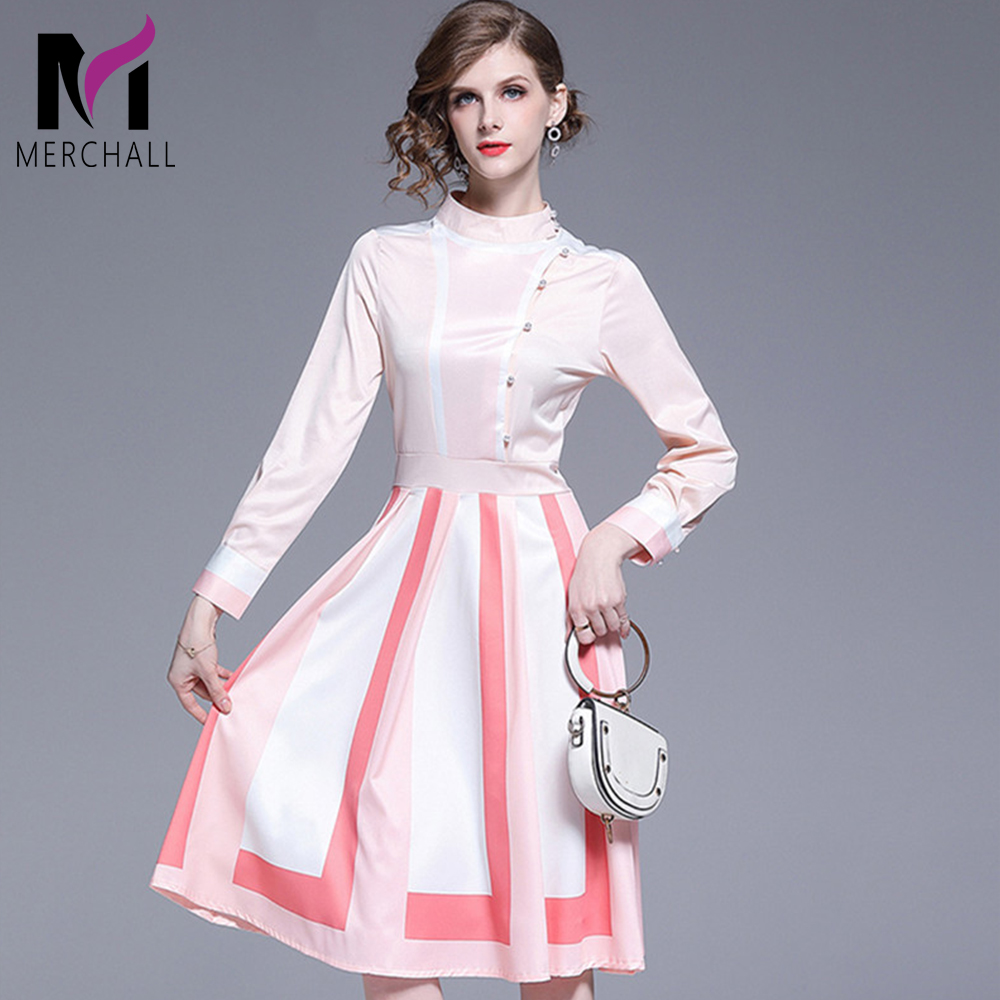 2019 Summer Pink White Color Block Sweet Dress Women Elegant Long Sleeve Pearls Button Dress Office Lady Casual Midi Party Dress