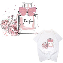fashion pink perfume iron on pathces for clothes brand flower pictures Diy T-shirt Dresses hoodie thermal transfer Patch